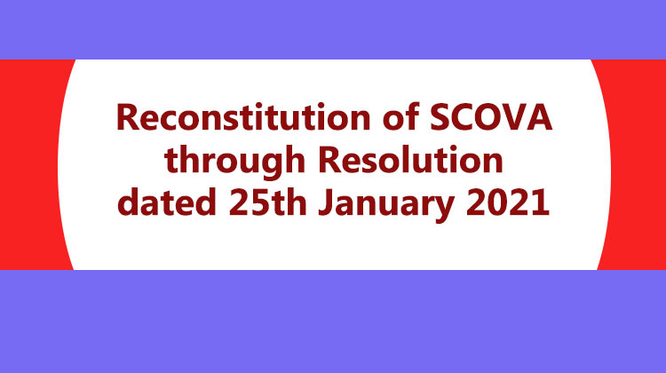 Reconstitution of SCOVA through Resolution dated 25th January 2021