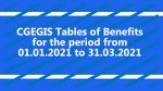 CGEGIS Tables of Benefits for the period from 01.01.2021 to 31.03.2021